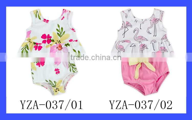 Summer Beach Fashion Two Pieces Swimwear Outfits Floower Top And Bloomer Child Swimsuit