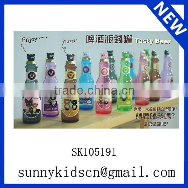 Saving bank in bottle shape money box