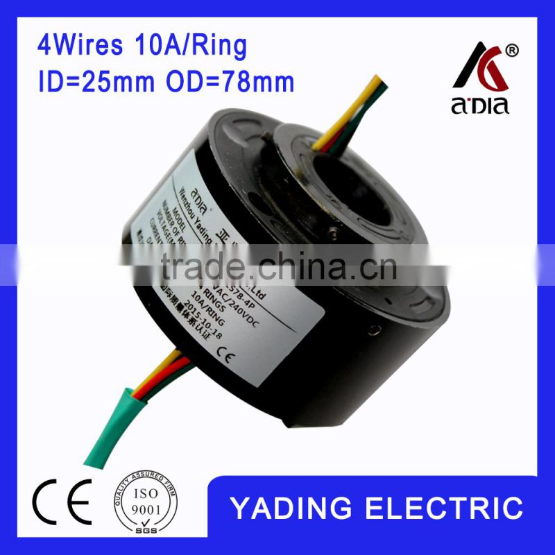SRH 2578-4p Through bore slip ring ID25mm. OD78mm. 4Wires, 10A/per wire
