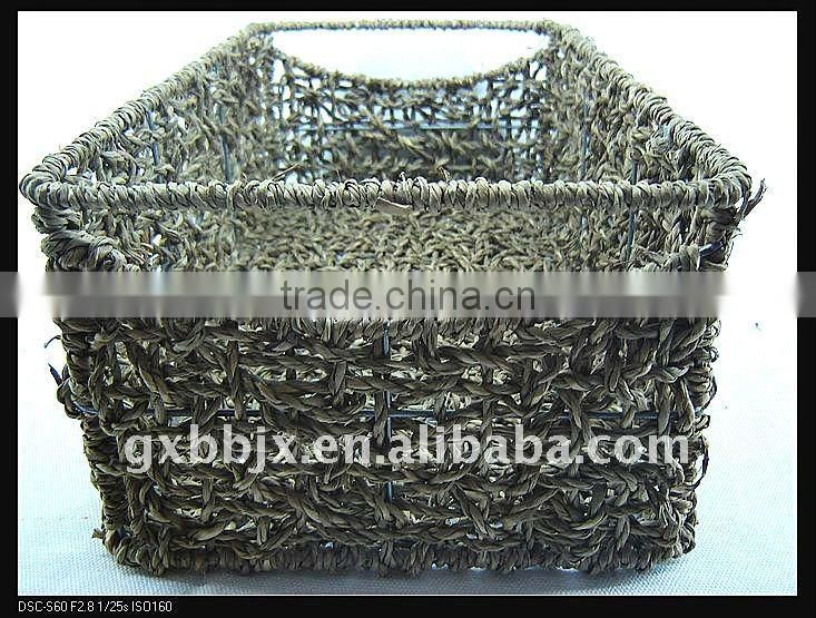 Rectangle seagrass weaving iron frame storage handmade basket