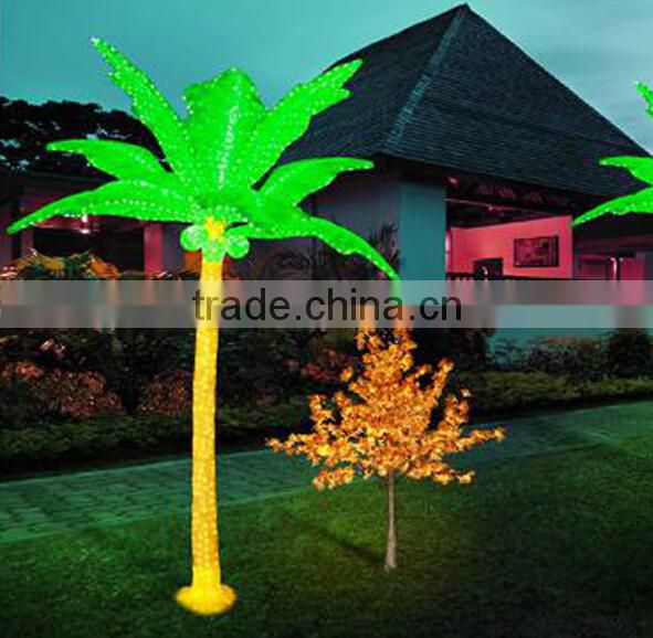 Home garden decorative 600cm Height outdoor artificial yellow flashing LED solar lighted up coconut palm trees EDS06 1402
