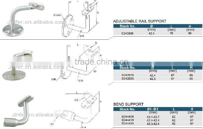 SS/Stainless steel Handrail Support(for welding)/handrail component/stair handrail