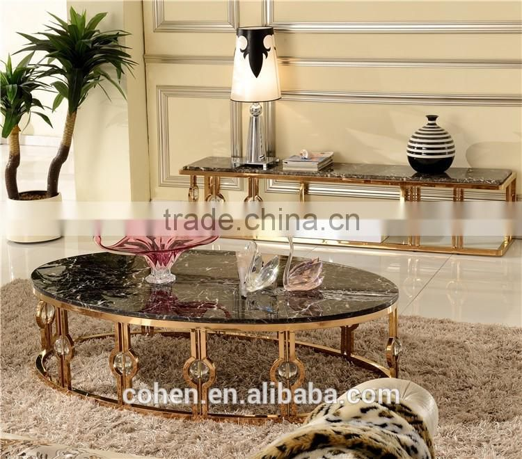Hot sell egg shape hotel/living room furniture stainless steel coffee/center table B818