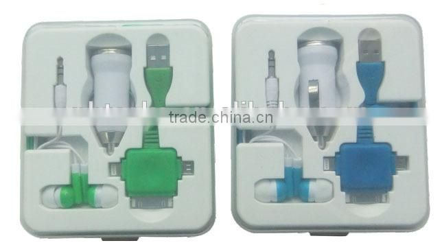 Universal 4 in 1 mobile phone USB charger set box kit