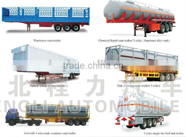 3 Axles Heavy Duty Flatbed Semi Trailer 50Ton with Front Sideboard