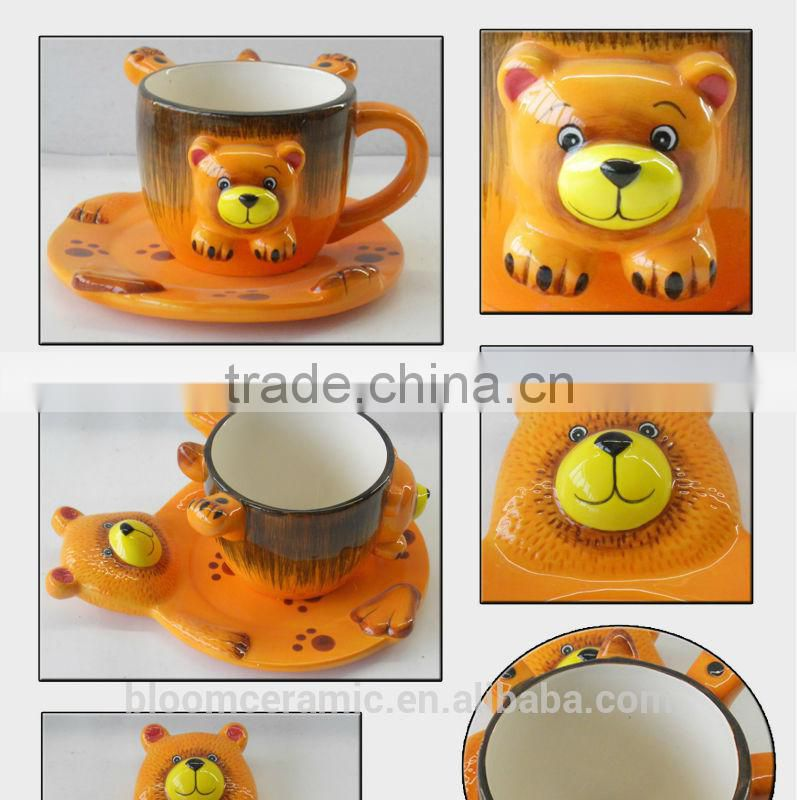 factory direct ceramic lion coffee cup and saucer