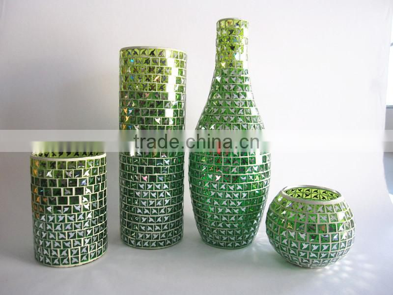 Turquoise Floor Decoration Texure Samshed Mosaic Large Fashion Flared Tall Glass Vases