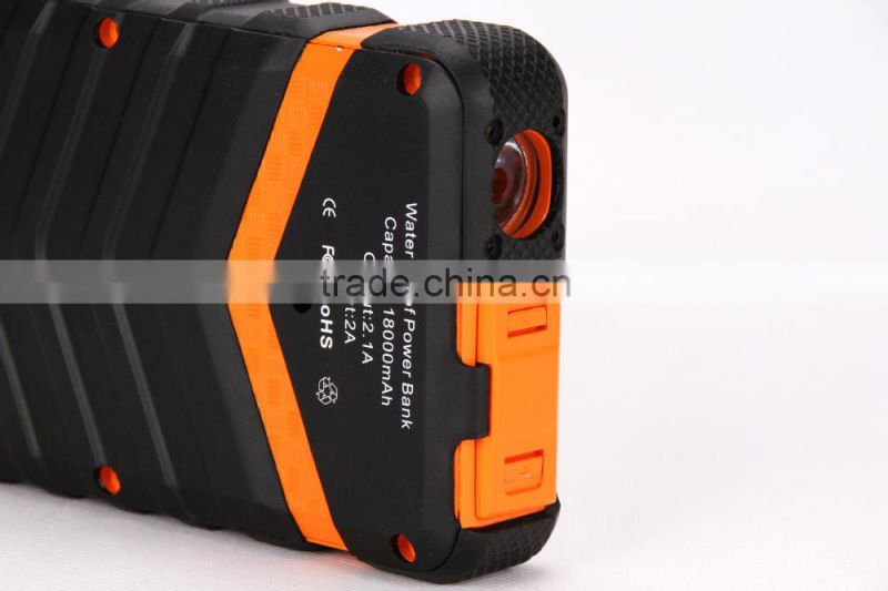 High Capacity Mobile Waterproof All Cell Phone Charger Power Bank 18000mah
