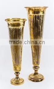 nickle plated flower decor metal trumpet