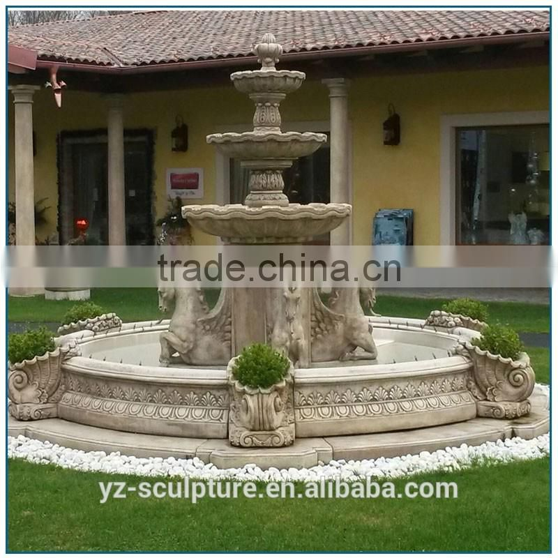 hot sale antique garden water fountain with horse statue