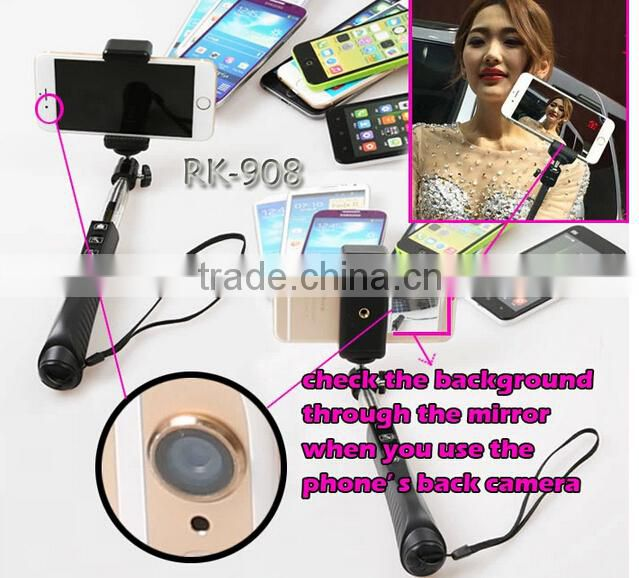 Bluetooth monopod equipped wih professional tripod, selfie monopod with mirror, with zoom function RK908