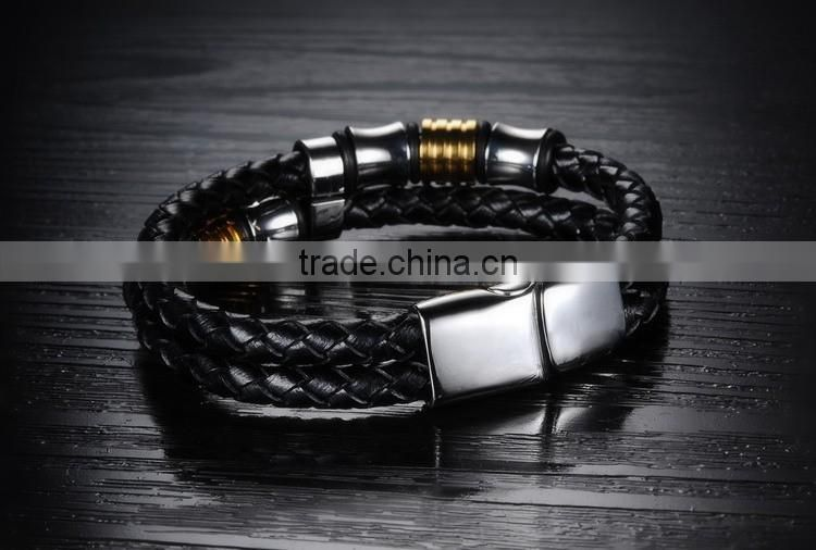 316L stainless steel leather bracelets for men braided