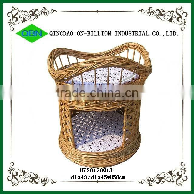 Eco-friendly woven pet basket with cover
