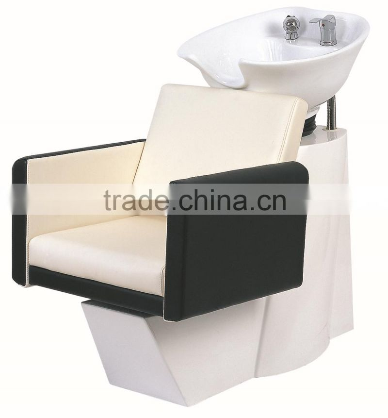 WHITE AND BLACK PROFESSIONAL SALON SHAMPOO CHAIR FOR MASSAGE
