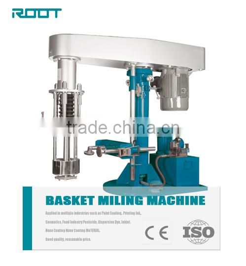 Basket mill machine for pigment with cover and double layer tank