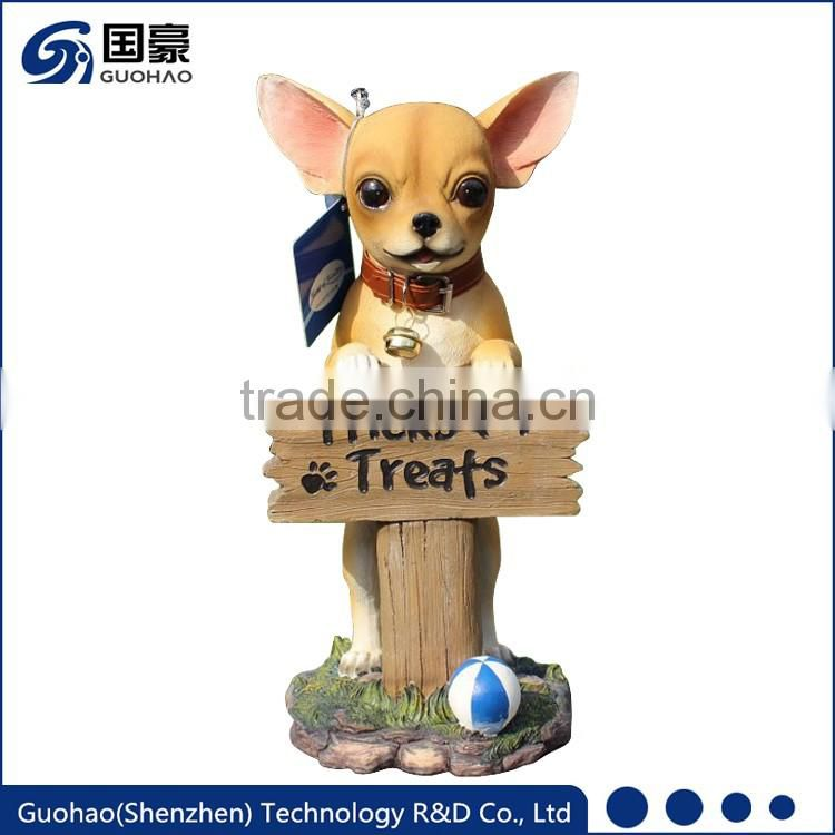 Lovely resin Chihuahua Figurine Dog Welcome Garden Sign Statue