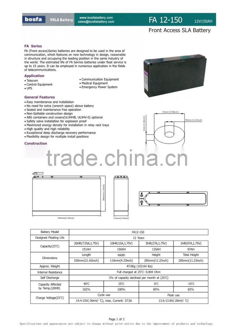 solar battery power 150ah rechargeable battery terminal in the front