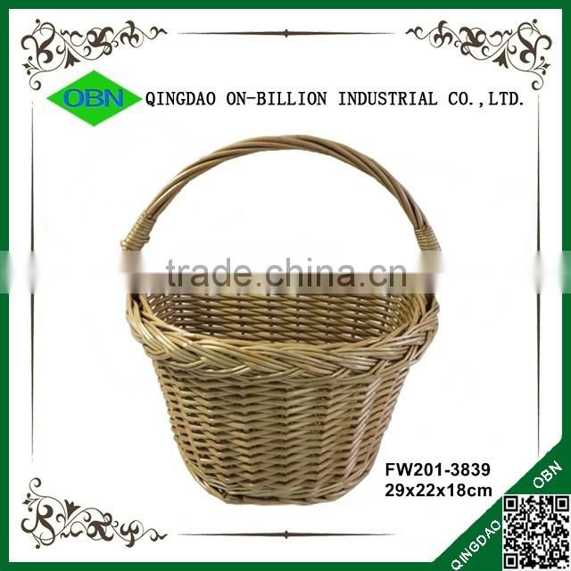 Made in China handle woven triangular boys custom bike willow basket