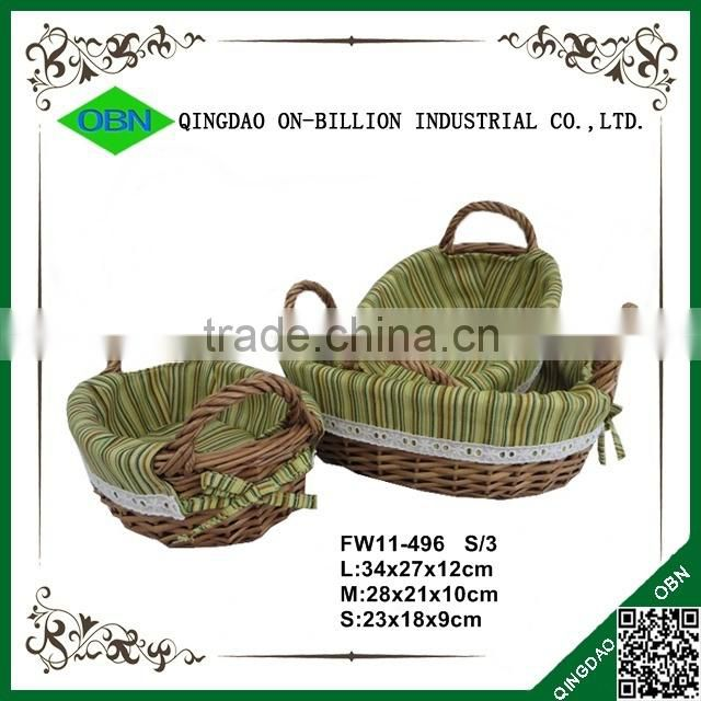 Sets cheap handmade wicker bread basket with liner