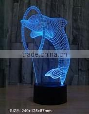 USB charging 3D illusion dolphin shape magic night light