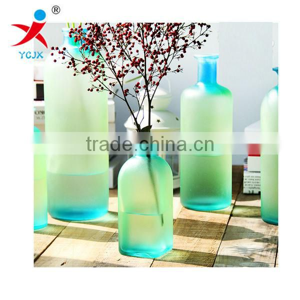 Rainbow manual frosted glass vase color hydroponic bottle desktop decoration furnishing articles Europe type style