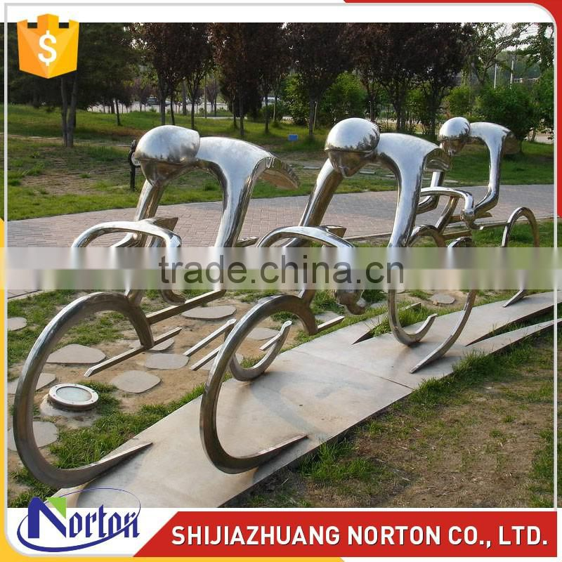Abstract characters ride stainless steel sculpture for garden decor NTS-012L