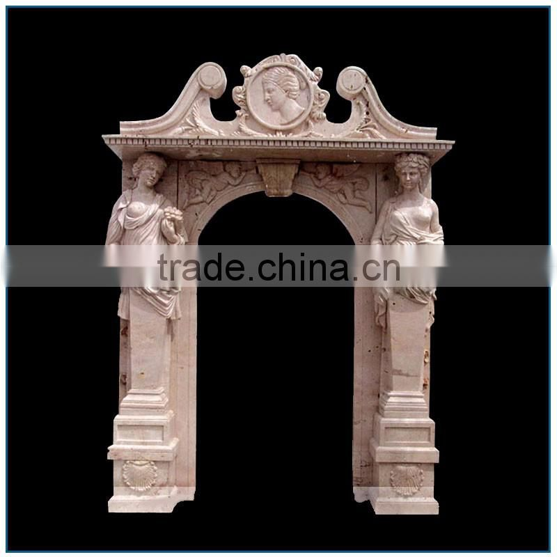 Western Religious White Stone Marble Door Surround with Nude Lady