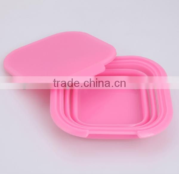 silicone folding lunch box/collapsible lunch box