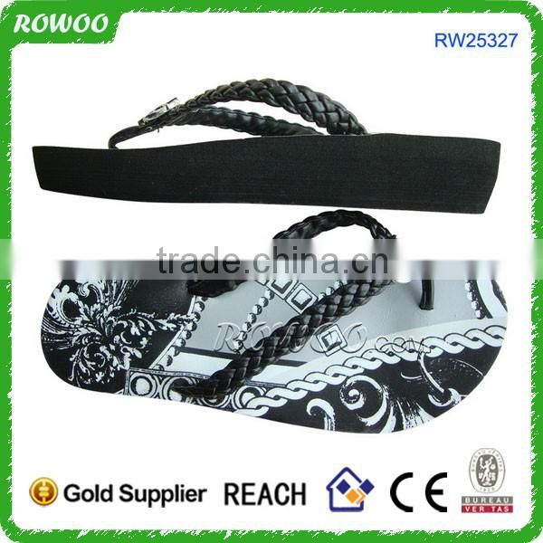 Women's Black EVA Braid T-Strap Sandals
