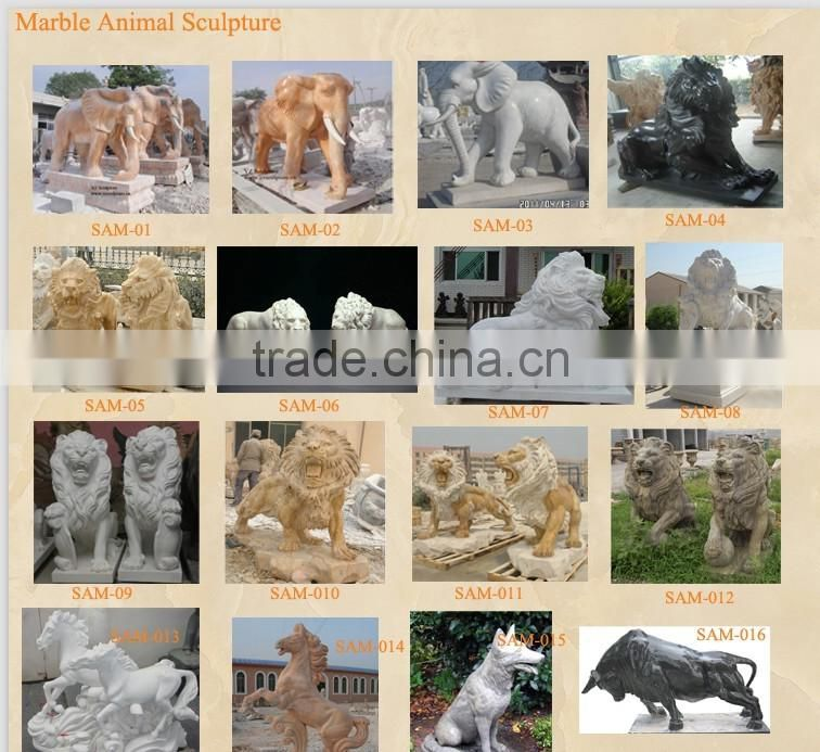 beautiful garden decoration life size yellow marble lion sculpture
