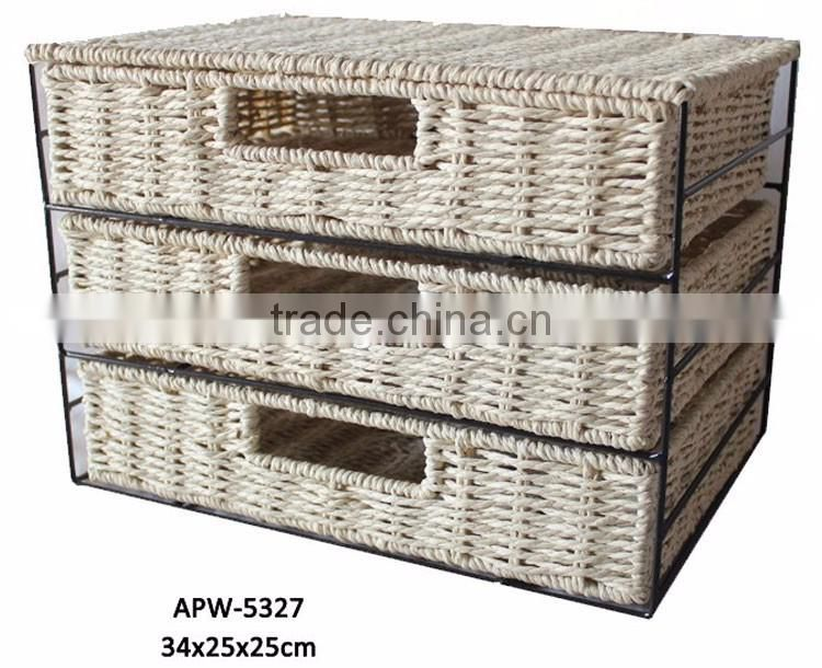 Fashionable and natural wicker Paper rope 3-Units handmade iron frame storage drawers
