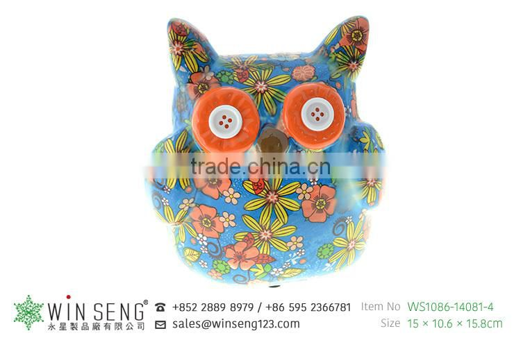 handmade funny ceramic owl money boxes decorative coin bank