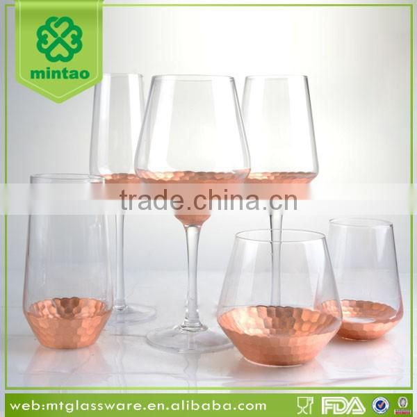 Copper decal round novelty glass wine decanter and wine glass
