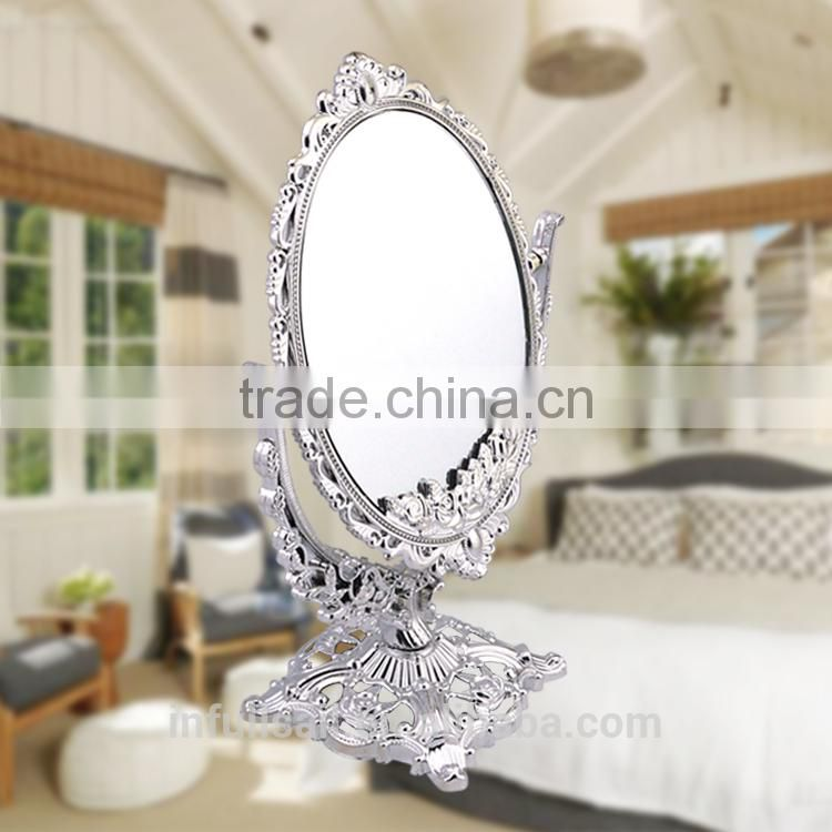 Plastic Table Top Cosmetic Mirror Free Standing Mirror Make Up Double Side Mirror