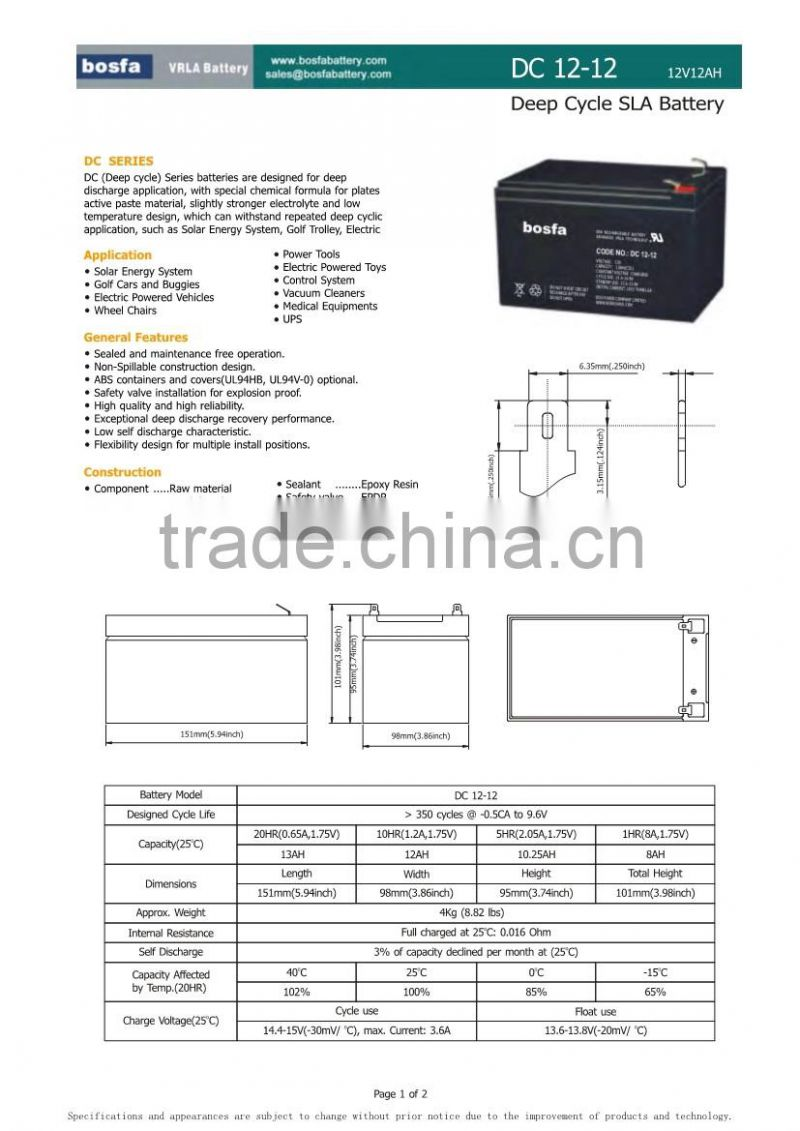 deep cycle vrla sealed lead acid battery 12v12ah
