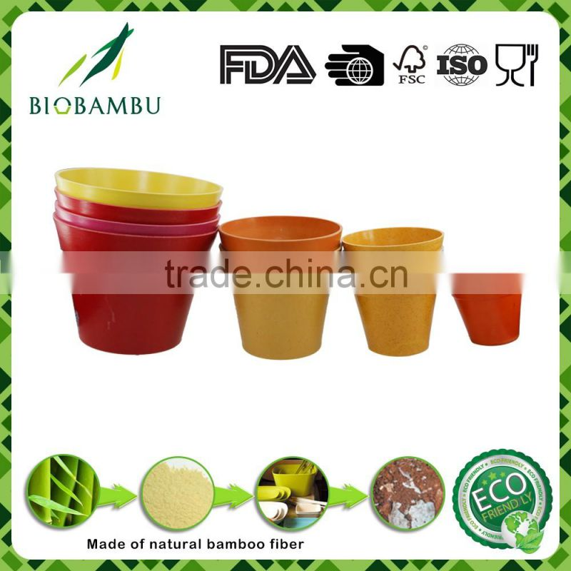 Best selling items license bright colored bamboo fiber flower pots