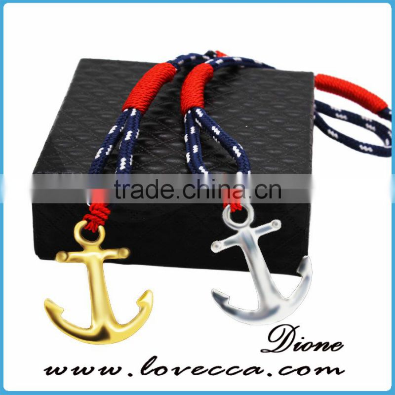 New design silver/gold anchor various rope nylon anchor bracelet
