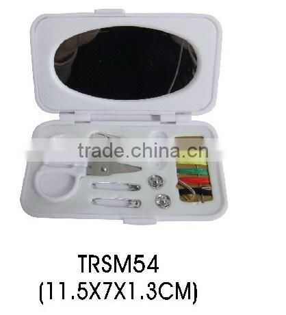 Plastic folding travel sewing kit with mirror mini box sewing set