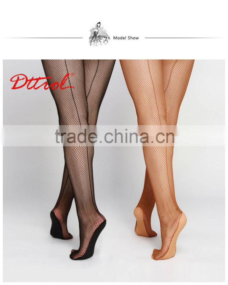 Fashion tube pantyhose fabric seamed dance fishnet tights for women