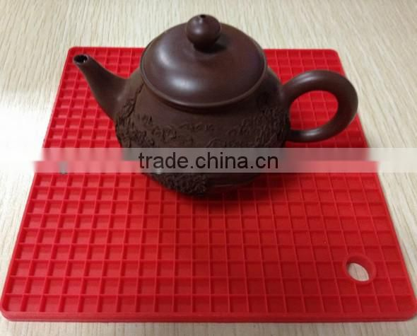 Grid shape silicone table mat silicone mat for pot