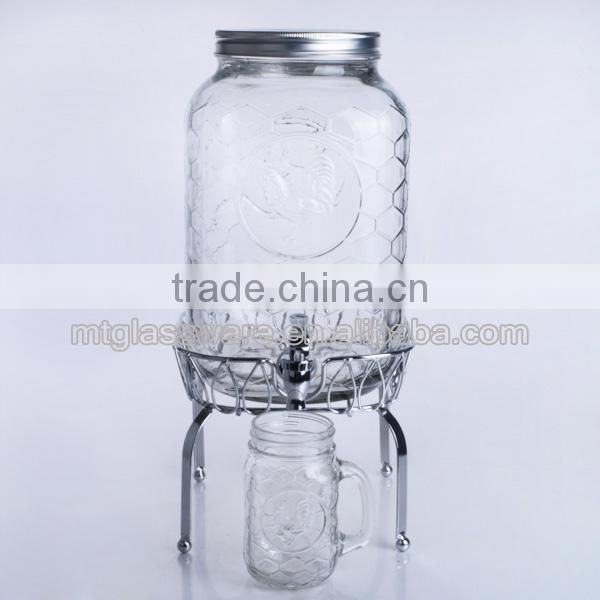 2015 New design high quality glass beverage dispenser with two taps