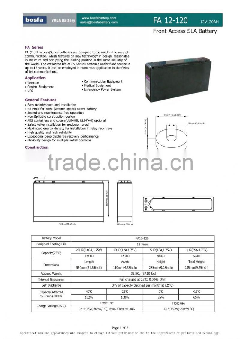 front terminal lead acid 12v 120ah ups battery