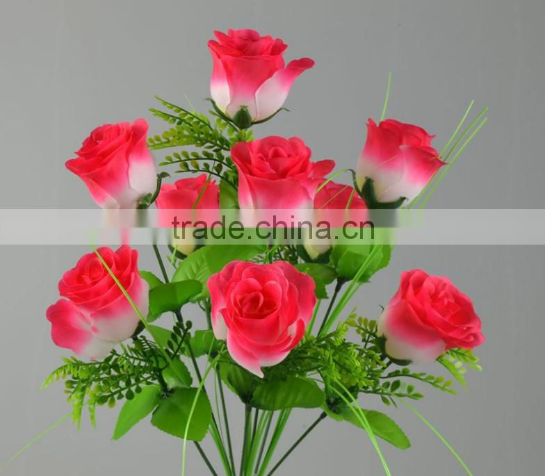 plastic flower bouquet wedding silk rose flower bouquet