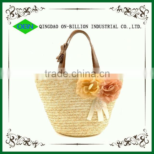Wholesale decorative cheap corn husk bag beach bag 2014 leather handle straw bags for woman
