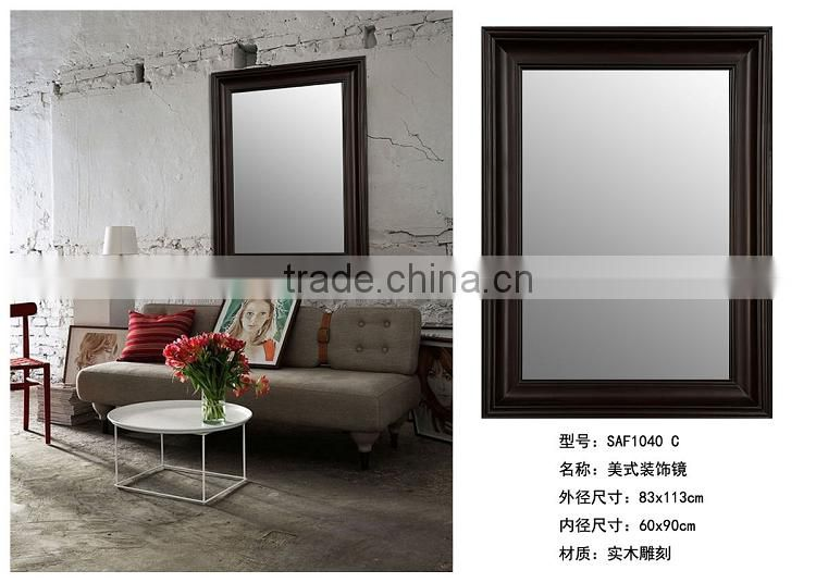 Custom Household Wall Decorative Antique Wood Mirror