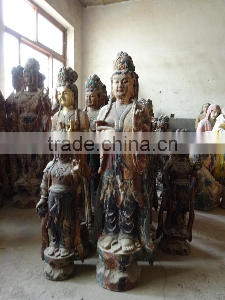 Antique wooden statue of the goddess with children,Antique wooden statues,Religious sculptures