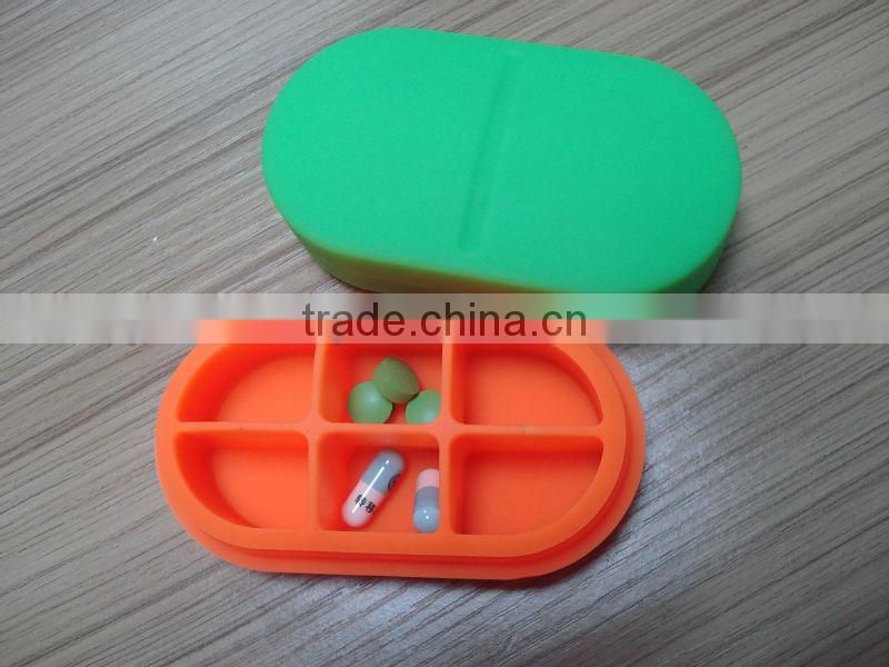 colorful oval silicone pill box
