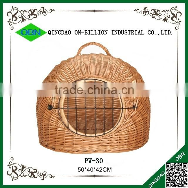 Custom portable rattan pet basket with handle
