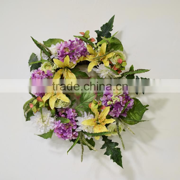2016 new design christmas flower wreath cheap artificial christmas wreath