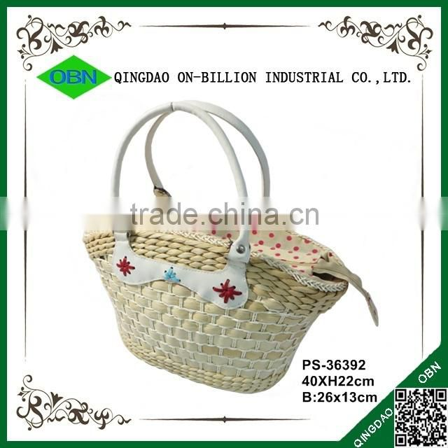 Cheap handmade natural maize mini make straw bag with PU handles